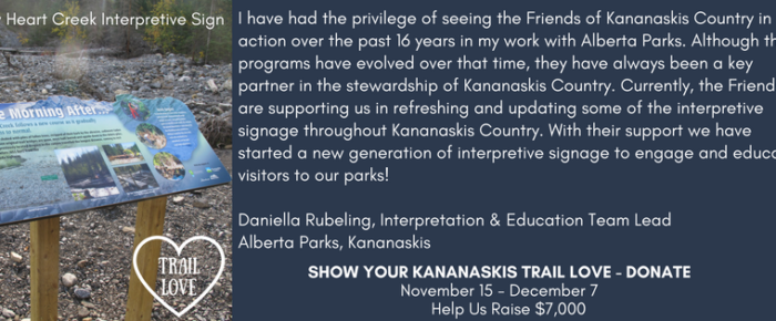 Daniella Rubeling highlighting our trail interpretation project with Alberta Parks